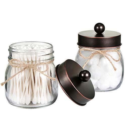 Mason Jar Bathroom Storage Organizer - Oil Rubbed Bronze - Rustic Farmhouse Decor Bathroom Accessories - Qtip Holder Dispenser Glass Apothecary Jars for Qtips,Cotton Swabs,Ball,Flossers (2 -
