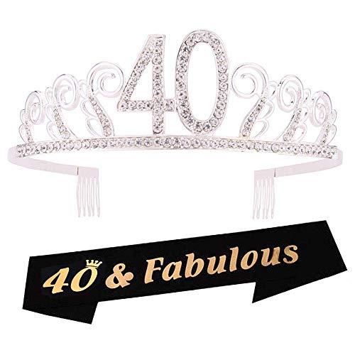 40th Birthday Tiara Crown (40th Birthday Tiara and Sash 40th Birthday Crown and Sash Tiara and Sash For 40th Birthday Party Supplies(Silver Tiara+Black)