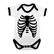 Goth Baby Skeleton Baby Bodysuit with Black Trim and Black Print