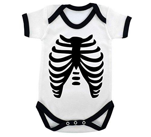 Goth Baby Skeleton Baby Bodysuit with Black Trim and Black Print