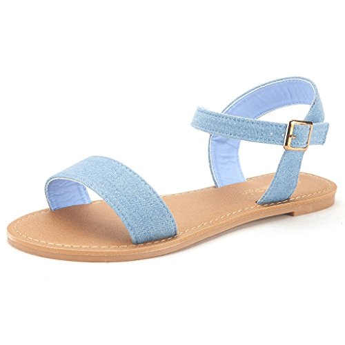 DREAM PAIRS HOBOO Women's Cute Open Toes One Band Ankle Strap Flexible Summer Flat Sandals New Blue Jean Size 9 (One Strap Sandal)