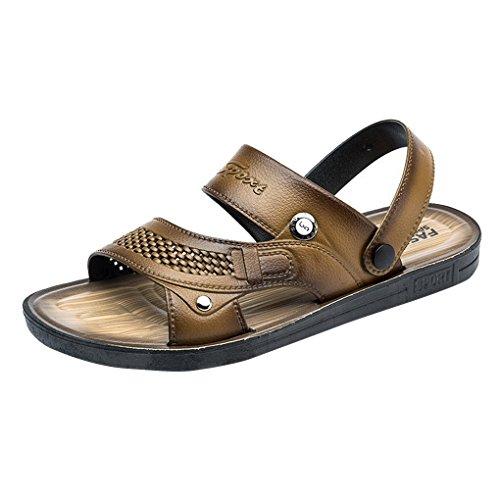 ACMEDE Men Sandals Anti Slip Open Toe Beach Pool Holidays Slipper Shoes Light Brown