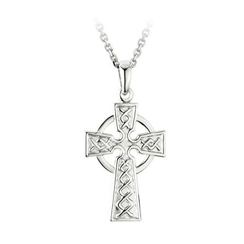 Failte Celtic Cross Necklace for Men Sterling Silver 2 Sided Made in Ireland (Celtics Cross Necklaces)