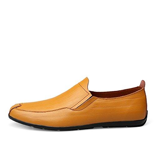 Moda Formal Marrón Hombre Boda Antideslizantes Artesanal Zapatos Mocasines Amarillo Negocios Originales qw7E5Hdx