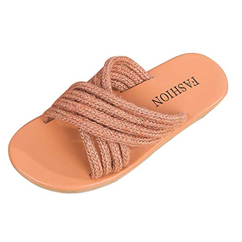 FengGa Women Cross Band Fisherman Shoes Rope Band Flat Sandals Beach Slippers Rome Shoe Peep Toe Pumps Orange