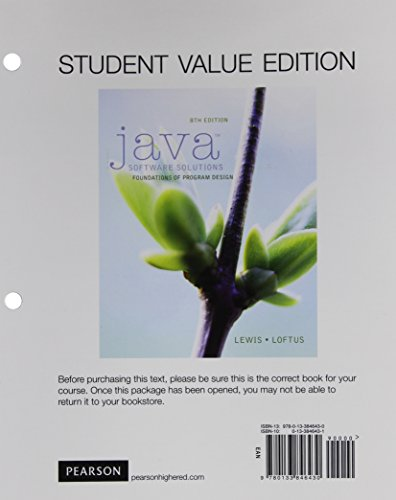 Java Software Solutions, Student Value Edition (8th Edition)