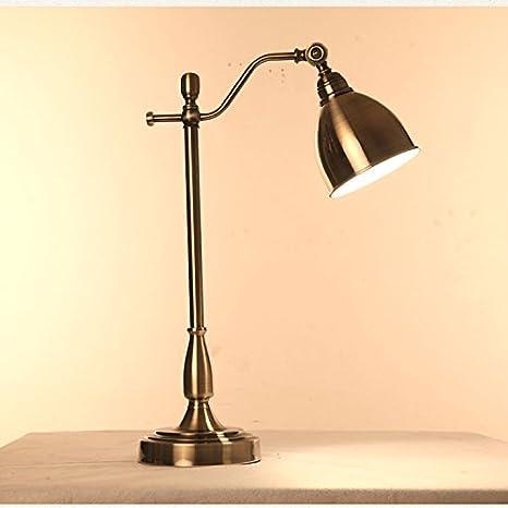 bbslt American Retro lámpara de mesa bronce verde largo ...