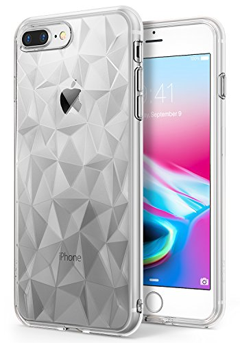 iPhone 7 Plus / iPhone 8 Plus Case, Ringke [AIR PRISM] 3D Vogue Design Chic Ultra Rad Pyramid Stylish Diamond Pattern Flexible Jewel-Like Textured Protective TPU Drop Resistant Cover – Clear
