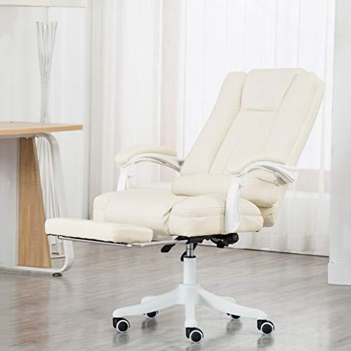 Kontorsstol ergonomisk kontor svängbar stol med fotstöd svängbara stolar justerbar höjd vit
