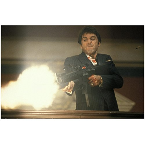 Al Pacino 8 Inch x10 Inch Photograph Scarface (1983) Shooting Large Gun from Balcony kn