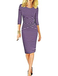 4eaa41eafdd Women 3 4 Sleeve Striped Wear to Work Business Cocktail Pencil Dress