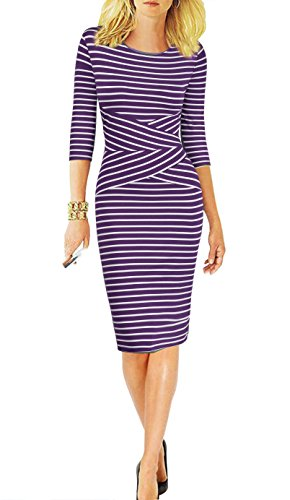REPHYLLIS Women 3/4 Sleeve Striped Wear to Work Business Cocktail Pencil Dress (Large, Purple)