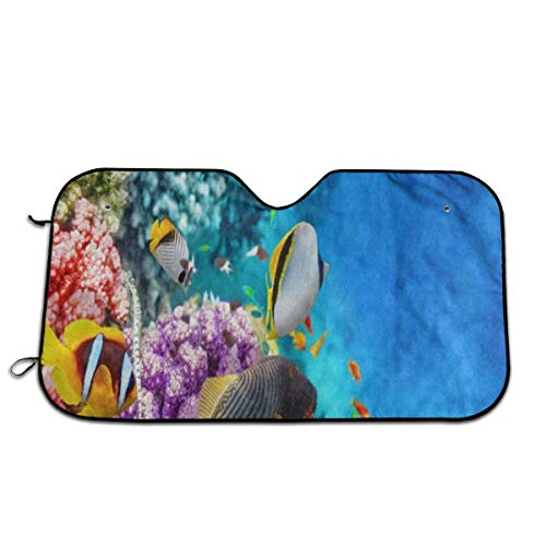 (Beautiful Underwater World Fish Coral Reef Windshield Sun Shade Visor - Pop Culture Novelty Car Accessory Car Sun Shade UV Protector Shield Auto Window Windshield Cooler Truck SUV (51