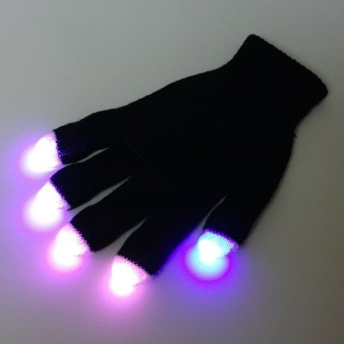 GloFX Premier LED Rave Glove Set: Purple, Orange, Green, Pink, Yellow, and Blue 6-Color Strobe USA New