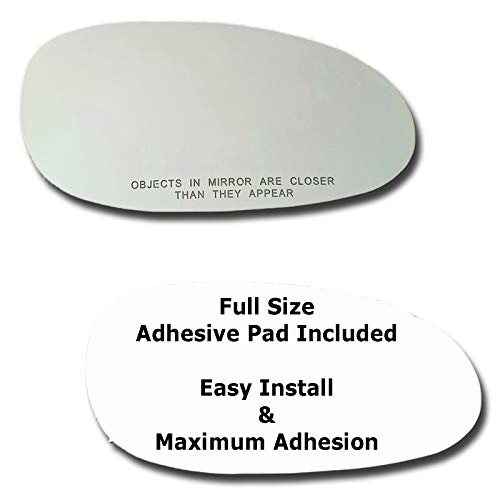 Mirror Glass + Full Size Adhesive Pad for 1997-2005 Buick Century Passenger Side Replacement