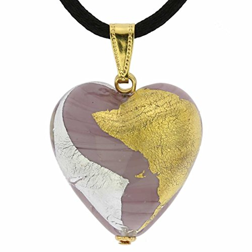 GlassOfVenice Murano Glass Heart Pendant - Purple Gold and Silver (Pendant Purple Heart Murano)