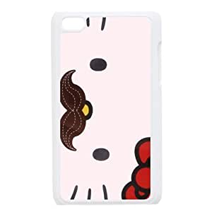 Custom Your Own Personalized Mustache Hello Kitty Ipod Touch 4 Case, Snap On Hard Protective Mustache Ipod 4 Case Cover