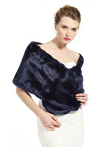 Aqua Blue Fur (luxury Bridal Party Evening/Wedding Faux Fur Shawl Wrap Stole-S51(Navy Blue))