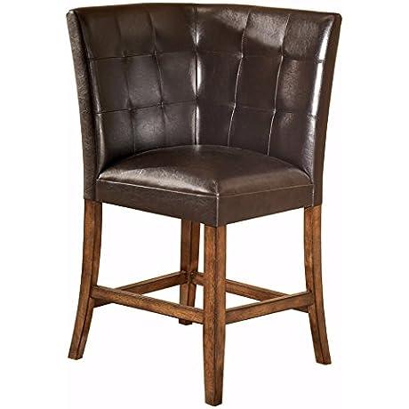 Ashley Furniture Signature Design Lacey Corner Barstool Counter Height Tufted Bar Stool Medium Brown Finish