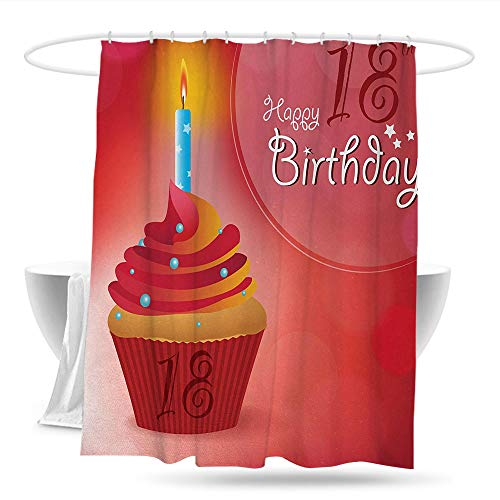 datizhu Polyester Shower Curtain 18th Birthday Sweet Eighteen Party Birthday Cupcake with Candles Artwork Print Bathroom Decoration W59×L70 Hot Pink Red and Orange ()