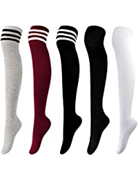7850b994889 5 Pairs Over Knee Thigh Socks Knee-High Sock High Thigh Stockings High Boot  Thigh
