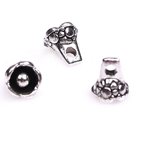 GEM-inside Ball Flower Bali Style Metal Antique Tibetan Silver Findings Jewelry Making Spacer Beads Charms Jewelry Findings Jewelry Making DIY Connectors 100Pcs FGP5352