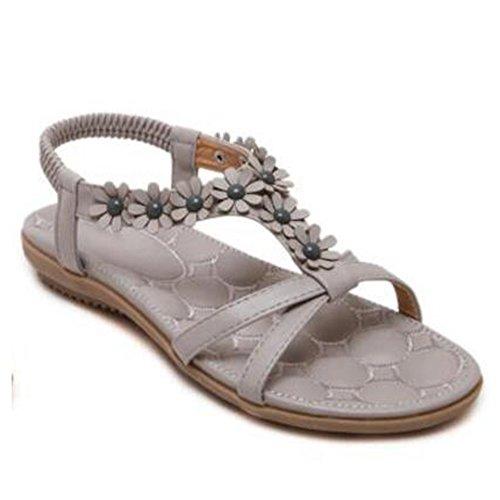 planas del UK del planas opcional dulces tamaño 2 de talón planas Pink verano talón sandalias de mujeres tamaño gran Cm las Color Sandalias Sandalias Zapatos Altura Tamaño 5 XIAOLIN Gris EU36 del 4xEAYnn