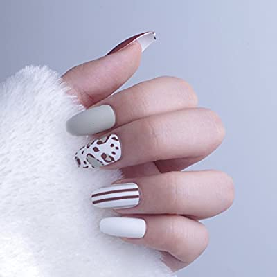 Amazon Com Long Coffin Nails Christmas New Year Fake Nails With Design Artificial Nail Tips With Glue Sticker 2 Beauty