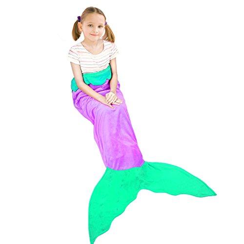 Amagoing Mermaid Tail Velvet Blanket for Kids Child Girls Gift (Ages (8 Gift)