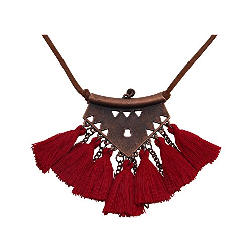 BNQL Red Bohemian Ethnic Tribal Tassel Necklace for Women (Red)