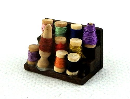 (Melody Jane Dolls Houses House Miniature Haberdashery Sewing Accessory Box Cotton Reels Threads )
