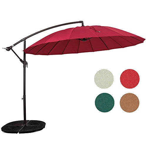 Sundale Outdoor 9ft Aluminum Offset Patio Umbrella with Crank and Cross Bar Set, Cantilever Umbrella for Deck, Garden, Backyard, 18 Fiberglass Ribs, 100% Polyester Canopy Shade (Red) Review
