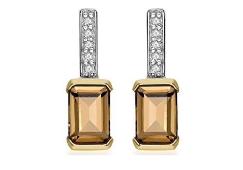Jewellery World Bague en or jaune 9carats et diamant rectangulaire Boucles d'oreilles clous Femme-Quartz fumé