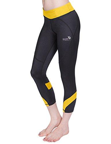 - Baleaf Women's Workout Running Yoga Capri Leggings 3/4 Length Yellow Size M