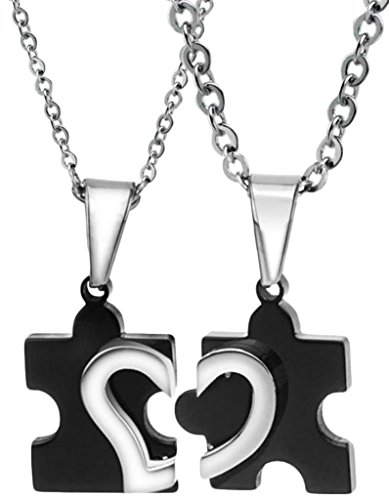 Men Women's Pendant Necklace Jewelry Stainless Steel Love 2 Half Hearts Puzzles Black