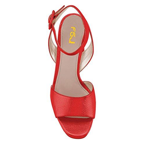 Kompani Kvinnor Bekväm Chunky Klack Plattform Sandaler Ankelbandet Öppen Tå Spänne Skor Storleks 4-15 Oss Röd