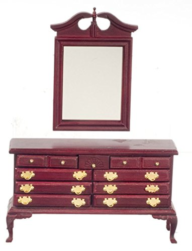 Dollhouse Miniature Traditional Working Dresser with Mirror in Mahogany