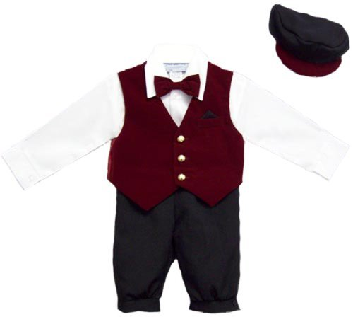 12MO-Boys 5Pc Knicker Set In Velvet - Burgundy (Velvet Knickers)