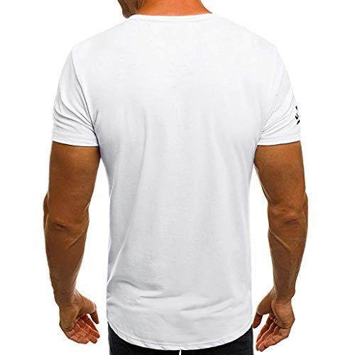 Men's Summer New Printed Round Neck Short Sleeves Fashion Personality Blouse -