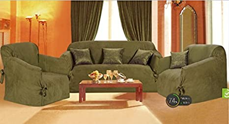Amazon.com: Grand Linen Solid Suede Couch Cover 7 Pc ...