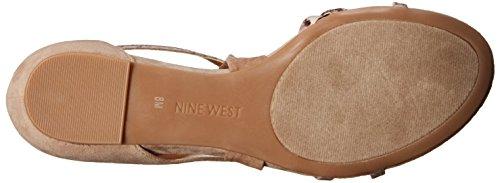Nine West Womens October Suede Flat Sandal Light Natural Multi