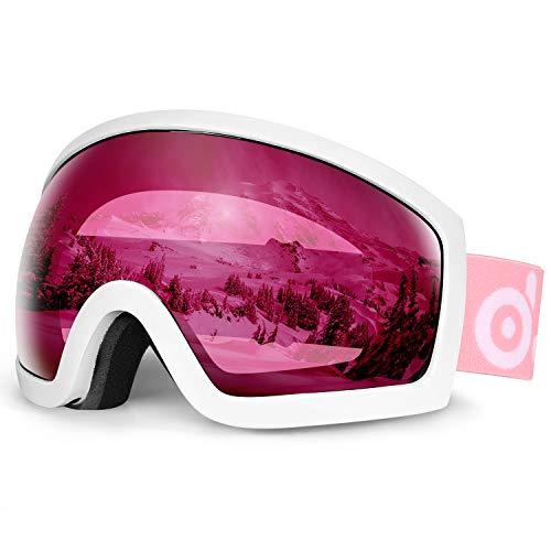 Odoland Ski Goggles - OTG Ski/Snowboard Goggles for Men, Women, Youth - Anti-Fog Double Lens, 100% UV Protection and Helmet Compatible