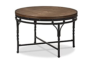 Baxton Studio Gabie Vintage Industrial Round Coffee Cocktail Occasional Table, Antique Bronze
