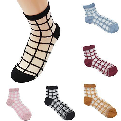 - Sheer Mesh Transparent Socks Women - Lace Ultrathin Fishnet See Through Ankle Sock lattice 1