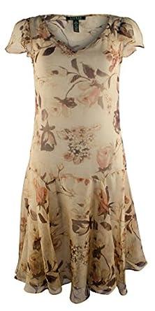 1920s Style Dresses, Flapper Dresses Lauren Ralph Lauren Womens Plus Size Floral V-Neck Drop Waist Dress $99.99 AT vintagedancer.com