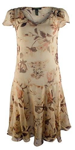 Lauren Ralph Lauren Women's Plus Size Floral V-Neck Drop Waist Dress-TM-20W