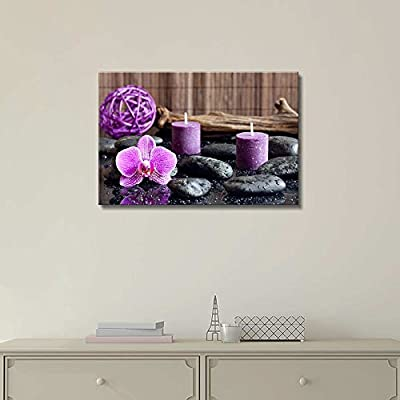 Professional Creation, Grand Piece, Zen Stones with Purple Orchid and Calming Candles Wall Decor
