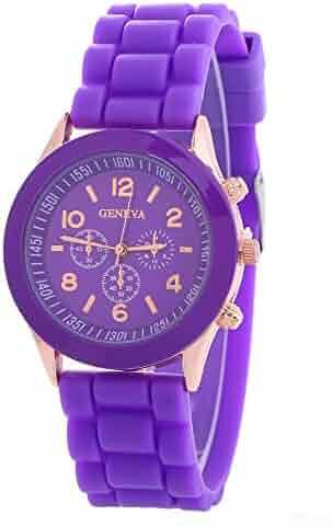 69918803b Unisex Geneva Silicone Jelly Gel Quartz Analog Sports Wrist Watch (purple)