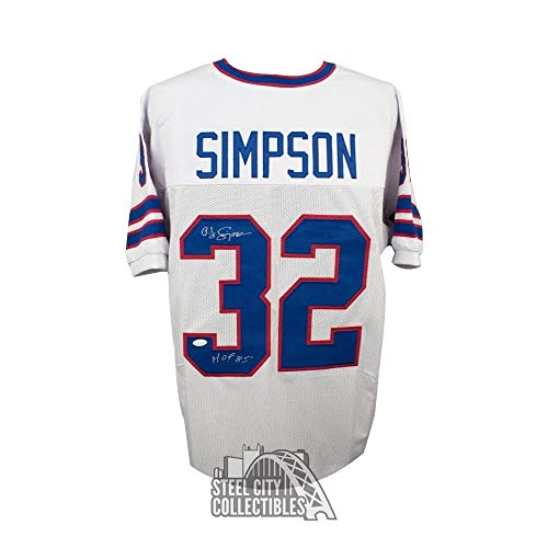 Oj Simpson HOF Autographed Signed Buffalo Bills Custom White Football Jersey Memorabilia - JSA Authentic
