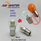 HATCHMATIC AMYWNTER 1156 led P21W Dual-Intensity 6V LED Bulb, BAY15d P21/5W SMD LEDs Car-Ship Indicator Light, Rear 12VDC Bulb: Red, 24VDC, BA15S 1156